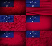 picture of samoa  - Flag of Samoa with old texture - JPG