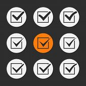 stock photo of confirmation  - Vector black ticks or check marks in square confirmation acceptance positive passed voting agreement true or completion of tasks on a list - JPG