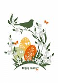 picture of bird egg  - Easter illustration with flowers - JPG