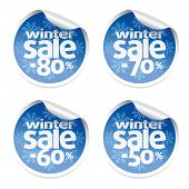 image of 70-year-old  - Set Winter sale stickers vector  - JPG
