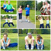 stock photo of mature men  - Happy elderly senior couple cycling jogging working out in park - JPG