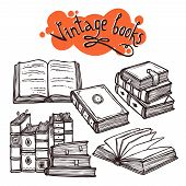 pic of sketch book  - Vintage books sketch decorative set black and white vector illustration - JPG