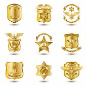 image of municipal  - Police municipal city law enforcement department badges gold set isolated vector illustration - JPG