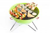 picture of barbecue grill  - barbecue skewers and grilled vegetables isolated on white - JPG