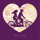 stock photo of tandem bicycle  - Vector warm flowers couple on tandem bicycle heart silhouette frame pattern greeting card template graphic design - JPG