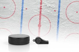 stock photo of referee  - Referee whistle washer and layout hockey rink - JPG