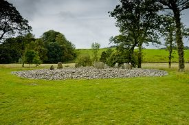 picture of bute  - View of Templewood Stone Circle Kilmartin Glen Scotland in cloudy day - JPG