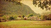 image of english cottage garden  - Village in Lake District - JPG
