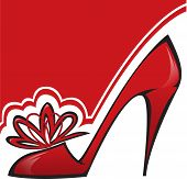 image of asymmetric  - red shoe with a high heel on the asymmetric background - JPG