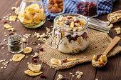 image of dry fruit  - Homemade yogurt with granola dried fruit and nuts bio  - JPG