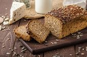 pic of whole-wheat  - Whole wheat bread baked at home bio ingredients very healthy with seeds - JPG