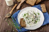pic of whole-wheat  - Homemade yogurt dip with blue cheese and chives whole wheat bread and milk for bio healthy food - JPG