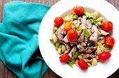 image of thighs  - chicken thighs with pea pesto pasta and tomatoes - JPG