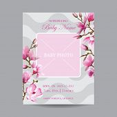 picture of magnolia  - Baby Arrival Card with Photo Frame  - JPG