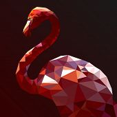 foto of flamingo  - Low Poly Flamingo vector art from my Wild Life low poly series - JPG