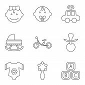 foto of nipple  - Baby related flat vector icon set for web and mobile applications - JPG
