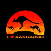 foto of kangaroo  - I love Kangaroo low poly abstract vector - JPG