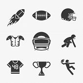 picture of football helmet  - Rugby and american football icons set - JPG