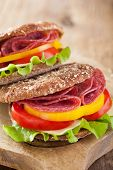 picture of tomato sandwich  - healthy sandwich with salami tomato pepper and lettuce - JPG
