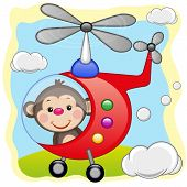 picture of helicopters  - Monkey is flying in a red helicopter - JPG