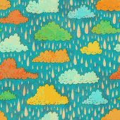 foto of rain cloud  - Seamless pattern with color clouds and rain - JPG