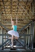 image of tutu  - Graceful ballerina in white tutu in the industrial background of the bridge hanging on his hands on a metal beam - JPG