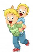 picture of piggy  - Illustration of an Older Brother Giving His Younger Brother a Piggy Back Ride - JPG
