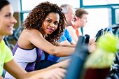 stock photo of treadmill  - Diversity group of young and senior - JPG