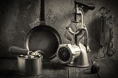 stock photo of chopper  - Outdated kitchen accessories - JPG