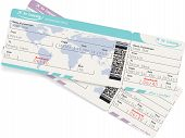 stock photo of boarding pass  - Vector image of two airline boarding pass tickets with QR2 code - JPG