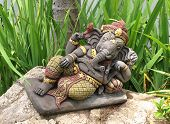 picture of prosperity  - Ganeshas hindu god sculpture in the garden sympol of luck and prosperity - JPG