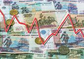 foto of descending  - Rubles and descending graph - JPG