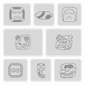 ������, ������: set of monochrome icons with American Indians relics dingbats characters part 14
