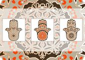 picture of hamsa  - Drawing of a card in ethnic style with hamsa and mandala - JPG