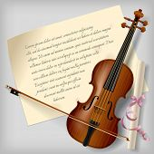 pic of violin  - Violin with a paper sheet on a gray background - JPG