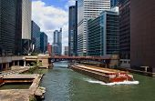 picture of barge  - Downtown chicago buildings and skyline with barge in canal - JPG