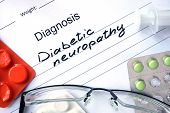 picture of diabetes symptoms  - Diagnostic form with diagnosis Diabetic neuropathy and pills - JPG