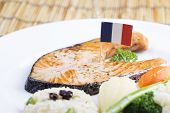 stock photo of salmon steak  - Grilled Salmon steak with Vegetables and Fried Rice - JPG