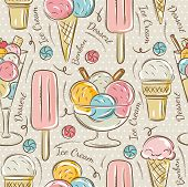 pic of bonbon  - Background with ice cream and bonbons. Ideal for printing onto fabric and paper or scrap booking. - JPG