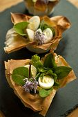 image of quail  - Tartlets with quail eggs and salad mix - JPG