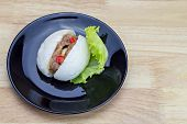 foto of quail  - Chinese steamed bun with crab stick quail egg and pork stuff - JPG