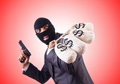 picture of gangster  - Gangster with bags of money against the gradient - JPG