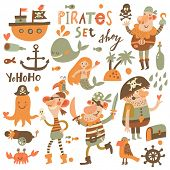 picture of mermaid  - Lovely pirate set in cartoon style - JPG