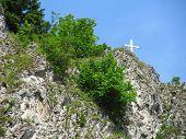 stock photo of pieniny  - cross on the rock at Pieniny national park in Poland - JPG