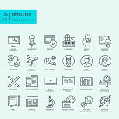 picture of online education  - Set of thin line icons for online education - JPG