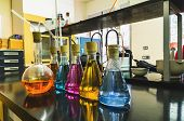 image of flask  - Some flasks in the chemical laboratory. Investigation and experiment concepts. ** Note: Shallow depth of field - JPG