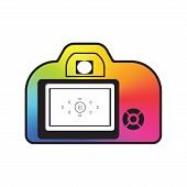 picture of conic  - Professional photocamera icon filled with color conical gradient isolated - JPG