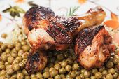 image of pea  - Roasted chicken legs with rice and green peas - JPG