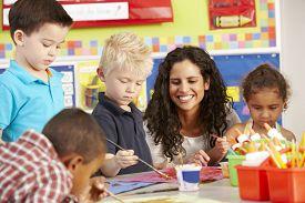picture of teachers  - Group Of Elementary Age Schoolchildren In Art Class With Teacher - JPG