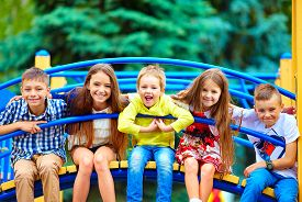 image of playground school  - group of happy kids having fun on playground - JPG